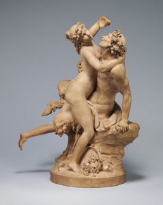 Clodion, Nymph and Satyr Carousing (also known as The Intoxication of Wine), 18th century (ca. 1780–90), terracotta, in the Metropolitan Museum of Art, photo from the Met's website
