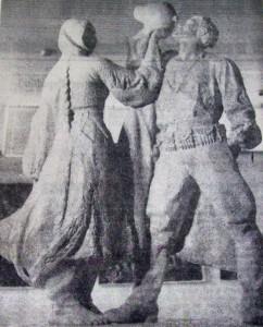Hektor Dule, Në Udhët e Luftës, plaster version, photo by A. Kruti in Drita, 8 September 1975.
