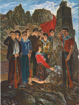 Edison Gjergjo, Lavdi Deshmoreve, no date [before 1969], oil on canvas