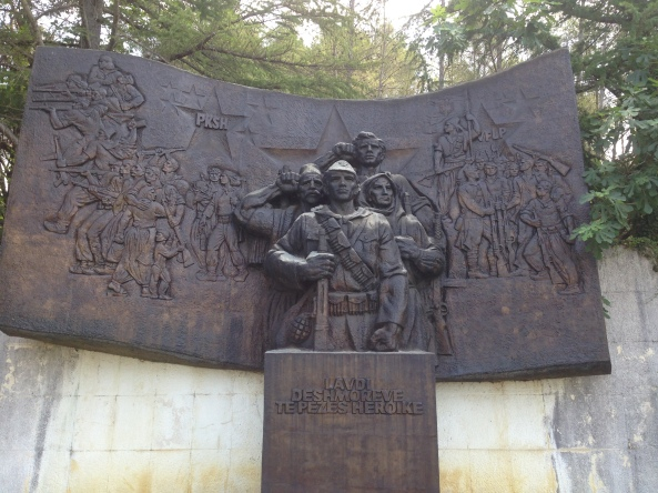 Monument in the Martyrs' Cemetery of Peza, Albania; by M. Dhrami and K. Krisiko, 1977